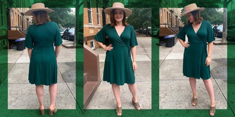 Woman wearing green wrap dress