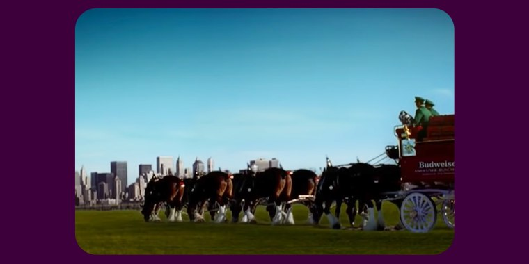 The ad, which ran during Super Bowl XXXVI on Feb. 3, 2002 — less than five months after the attacks — featured the renowned Budweiser Clydesdales.