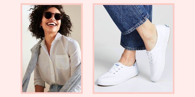 woman wearing white shirt and white sneakers