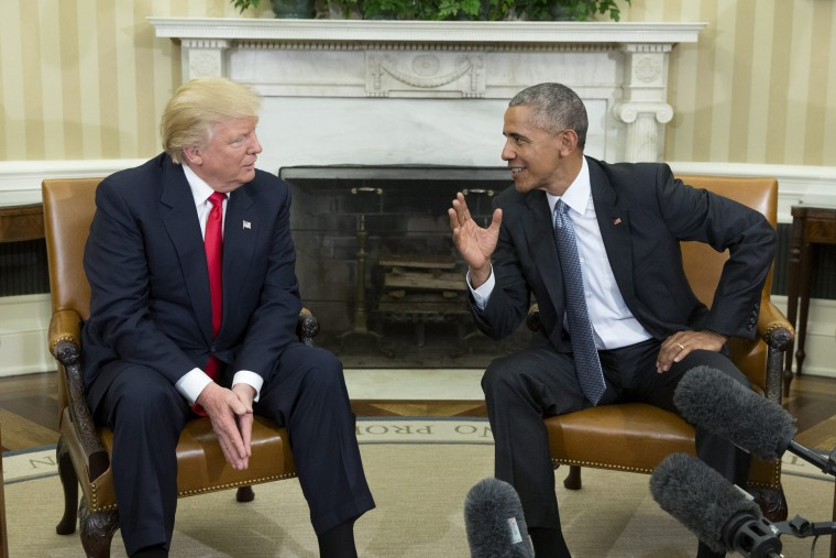Image: US President Barack Obama welcomes President-elect Donald Trump