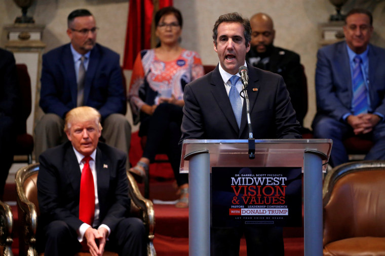 Trump appears with Cohen during campaign stop at the New Spirit Revival Center church in Cleveland Heights, Ohio