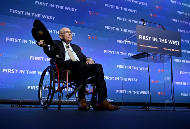 """Image: Harry Reid acknowledges the audience at the Nevada Democrats' """"First in The West"""" event in Las Vegas on Nov. 17, 2019."""