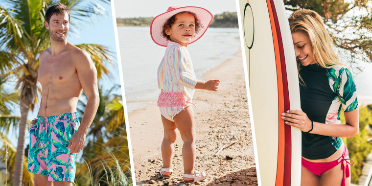 Man, child and woman wearing upf swimwear at beach. What is UPF clothing? Find the best sun protection clothing and swimwear with this guide, including sun protection shirts, UPF hats, UPF swimwear and more.