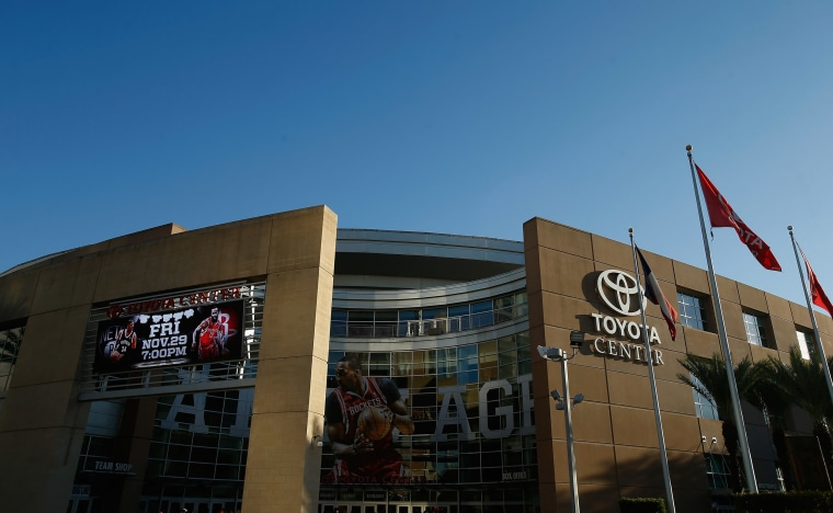 A view of the exterior of the Toyota Center prior to the start of a game between the Houston Rockets and the Boston Celtics.