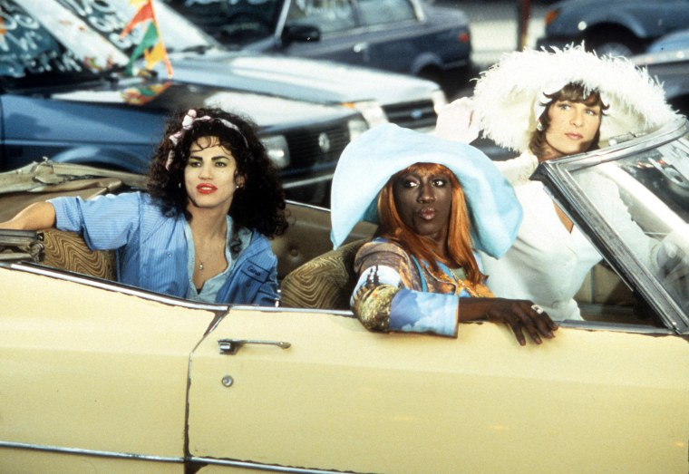 Image: John Leguizamo, Wesley Snipes and Patrick Swayze in a car in a scene from the film 'To Wong Foo Thanks for Everything, Julie Newmar', 1995.