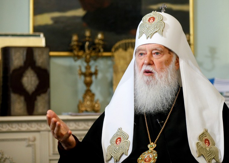 Patriarch Filaret, head of the Ukrainian Orthodox Church of the Kiev Patriarchate, speaks during an interview with Reuters in Kiev