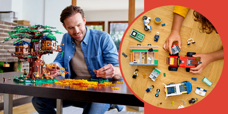 Man and child building lego sets