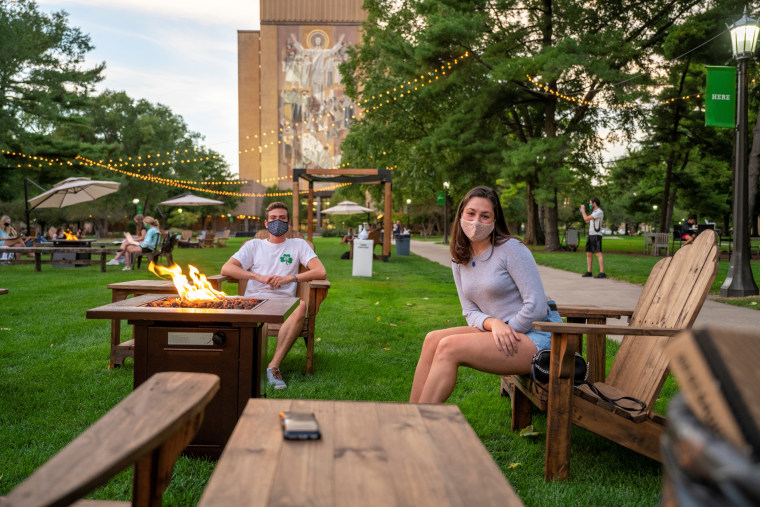 A library lawn at University of Notre Dame in Indiana encourages safe socialization with physically distanced chairs, fire pits and games.