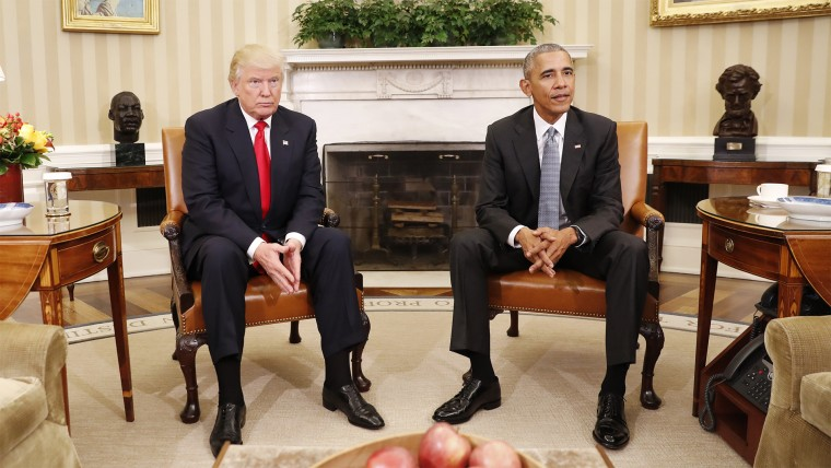 President Barack Obama meets with President-elect Donald Trump in the Oval Office of the White House on Nov. 10, 2016.