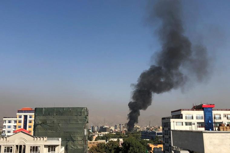 Image: A smoke plume rises in Kabul
