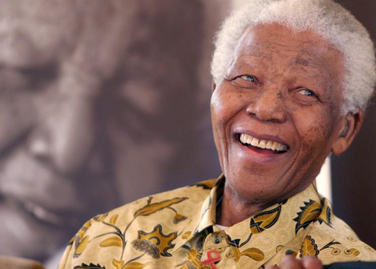Image: Former South African President, Nelson Mandela, at the Mandela Foundation in Johannesburg