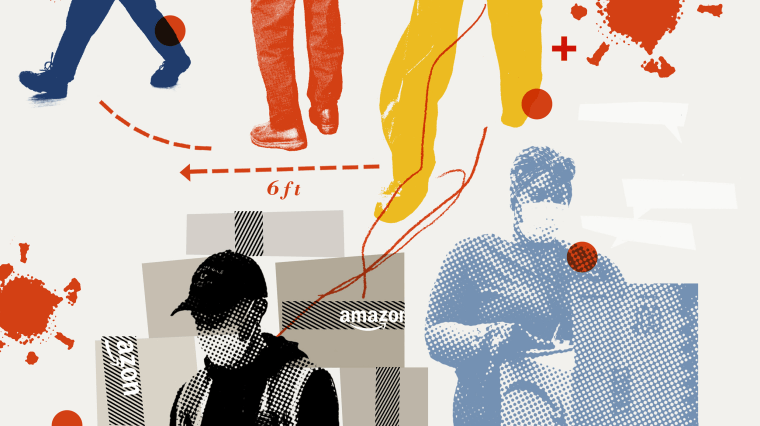 Image: A collage of Amazon workers in masks, Amazon shipping boxes, coronavirus spore, and legs walking six feet apart.