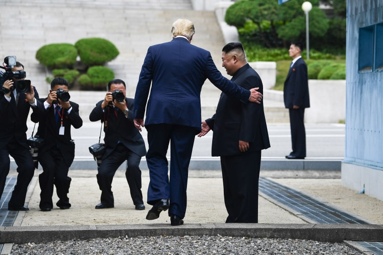 Image: President Donald Trump steps into the northern side of the Military Demarcation Line that divides North and South Korea