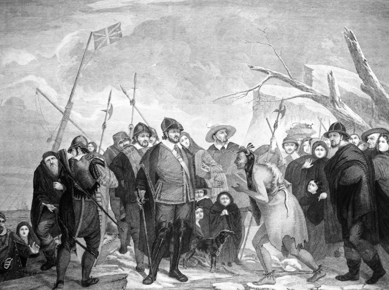 IMage: The 1620 landing of pilgrim colonists at Plymouth Rock, MA.