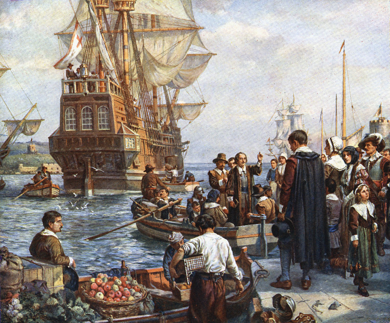 Image: Pilgrim Fathers boarding the Mayflower for their voyage to America