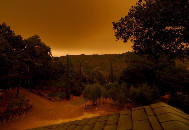 Dark orange smoke above Sonoma, Calif., on Sept. 9, 2020.