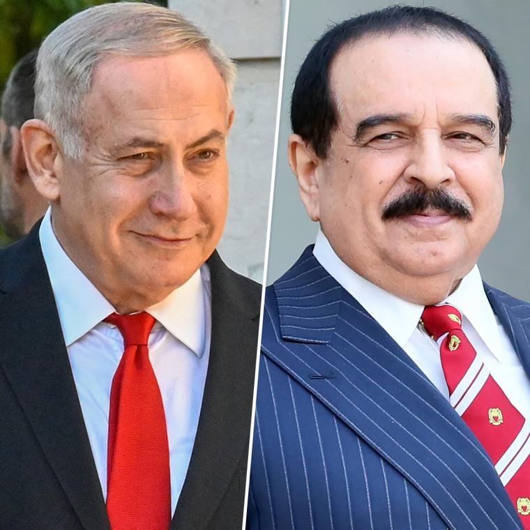 Image: Israeli Prime Minister Benjamin Netenyahu, and King Hamad bin Isa bin Salman al-Khalifa