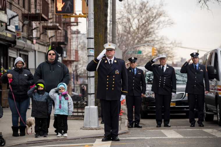 Image: Funeral Held For New York City Fire Fighter Who Helped Evacuate People During The World Trade Center Attack