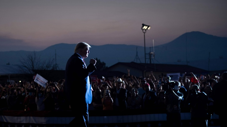 President Donald Trump arrives at a campaign rally in Minden, Nev., on Sept. 12, 2020.