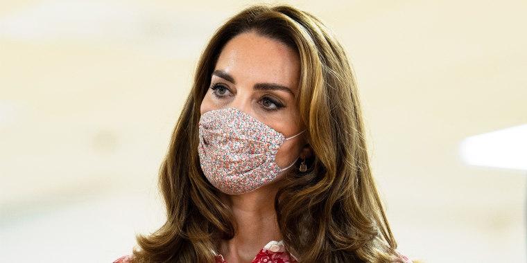 Kate Middleton wearing floral face mask