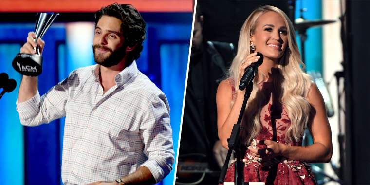 In an unusual twist of events, both Carrie Underwood and Thomas Rhett won ACM's entertainer of the year.