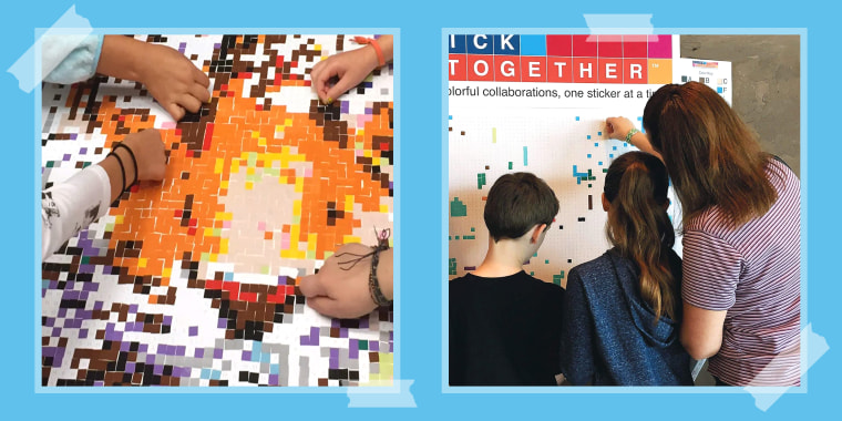 kids and adult working on sticker kit puzzle