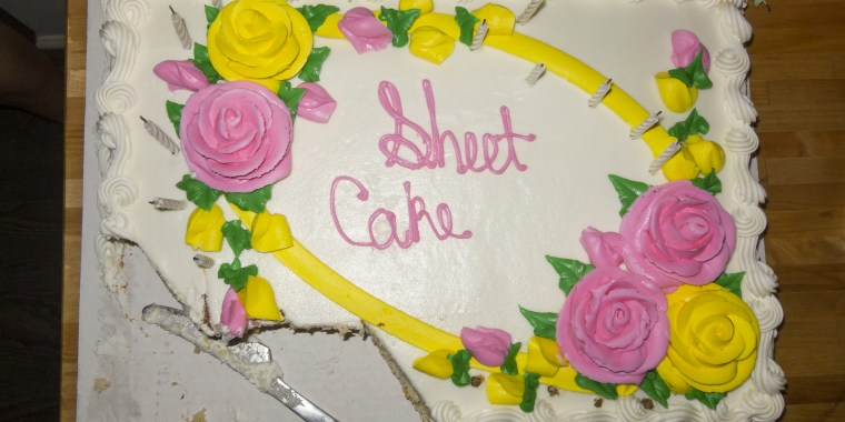 Sheet Cake, with the title, 'Sheet Cake'