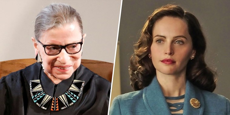 """Ruth Bader Ginsburg (left) and Felicity Jones (right), who played Ginsburg in the 2018 movie, """"On the Basis of Sex."""""""