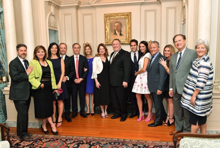 """The first photo to emerge publicly of a """"Madison Dinner"""" shows Supreme Court Justice Samuel Alito, second from right, Atlanta Falcons CEO Steve Cannon, fourth from right, Fox Business anchor Maria Bartiromo, second from left, and their spouses join Secretary of State Mike Pompeo and other guests at the State Department's Harry S. Truman Building on June 12, 2019."""