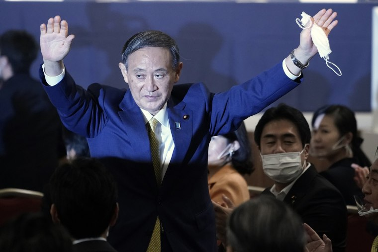 Image: Japanese Chief Cabinet Secretary Yoshihide Suga is elected as new head of Japan's ruling party at the Liberal Democratic Party