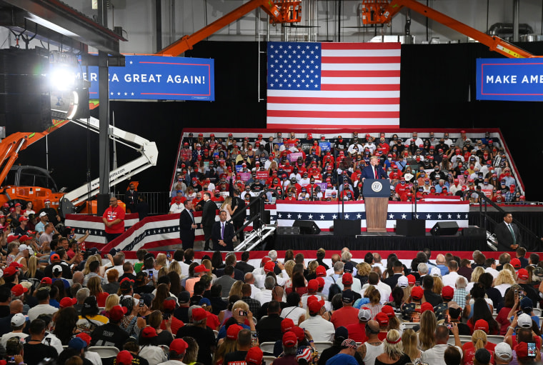 Image: President Donald Trump speaks during a campaign event at Xtreme Manufacturing on Sept. 13, 2020 in Henderson, Nevada.