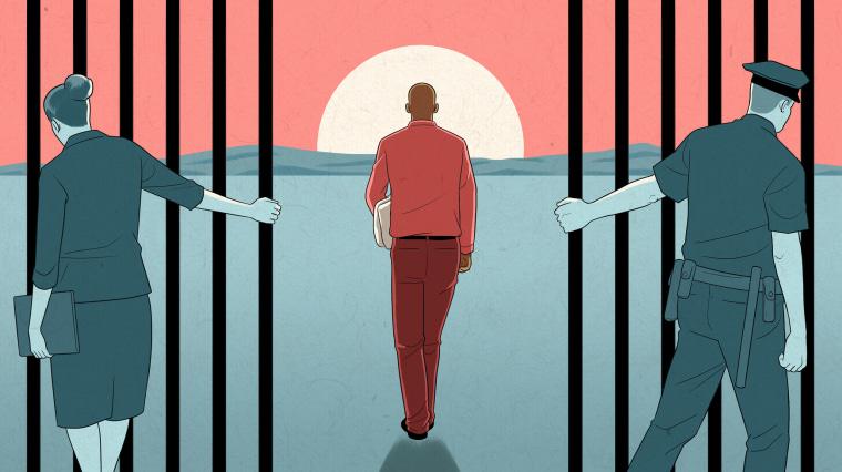 Image: A Black man walks through prison gates towards a rising sun as a prosecutor and police office hold the gates open.