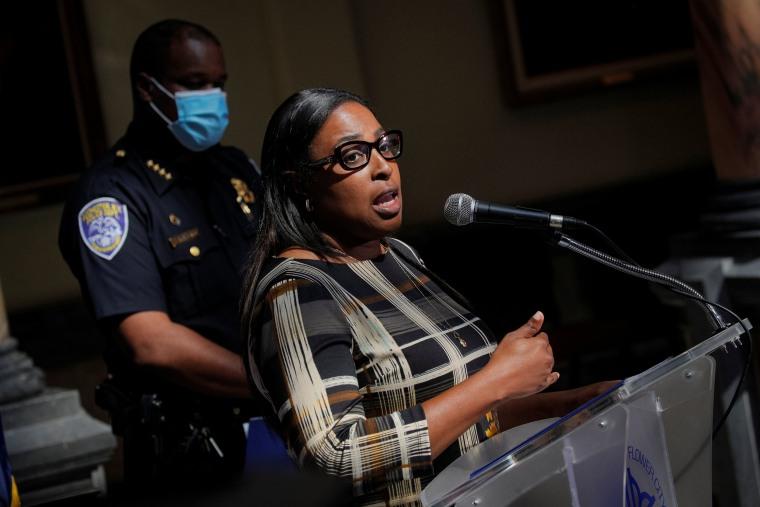 Image: Rochester Mayor Lovely Warren speaks during a news in Rochester, New York