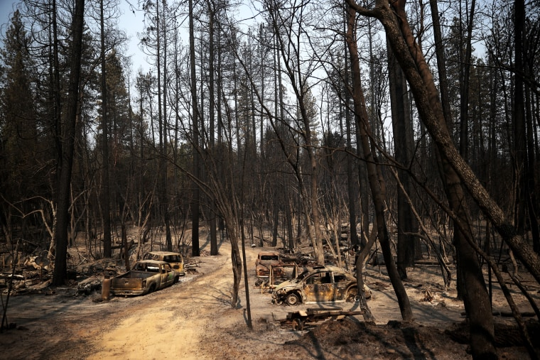 Image: Recovery Efforts Continue In Butte County, California After Bear Fire Scorches 250,000 Acres