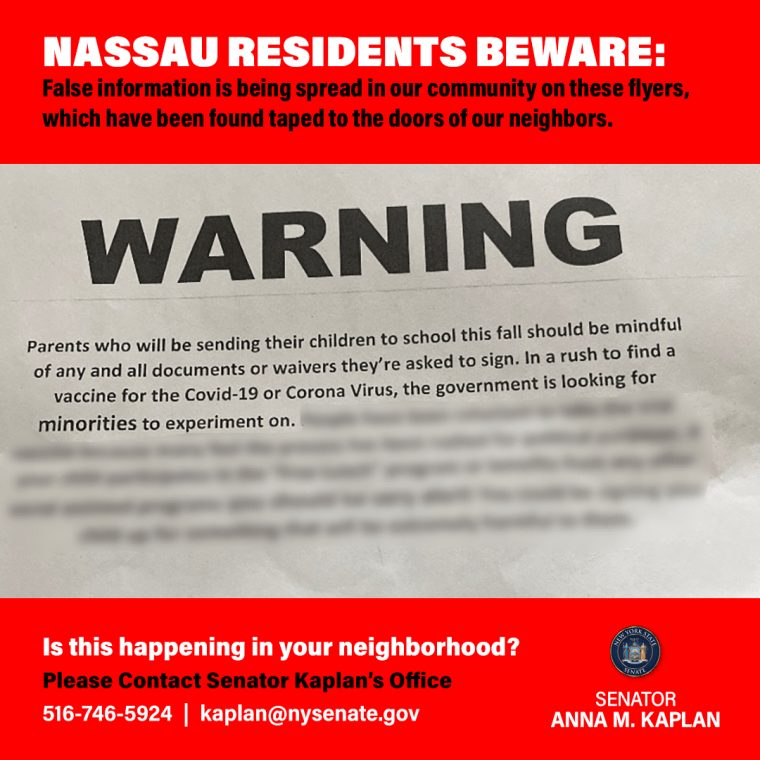 Image: The letter was found taped to the front doors of dozens of residents in Nassau County.