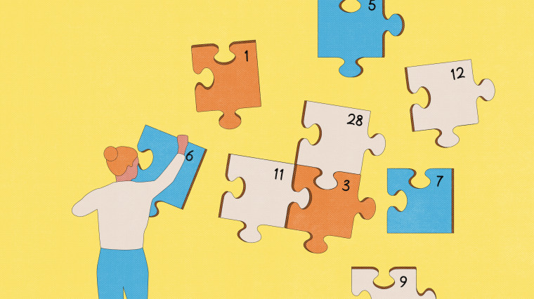 Illustration of person holding puzzle pieces in the style of a calendar.