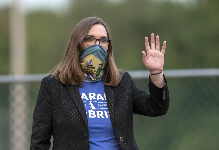 Image: Transgender activist Sarah McBride, who hopes to win a seat in the Delaware Senate, campaigns at the Claymont Boys & Girls Club in Claymont, Del
