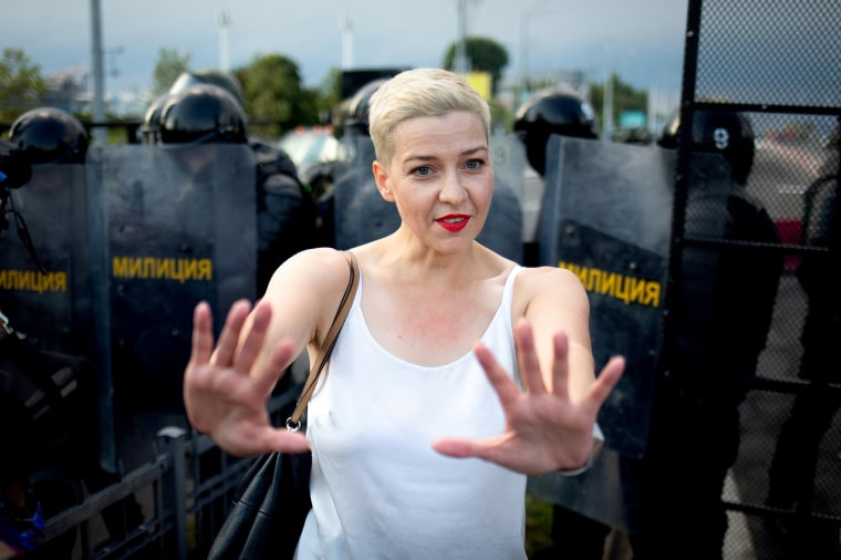 Image: FILE PHOTO: Belarusian opposition politician Maria Kolesnikova gestures in front of law enforcement officers during a rally in Minsk