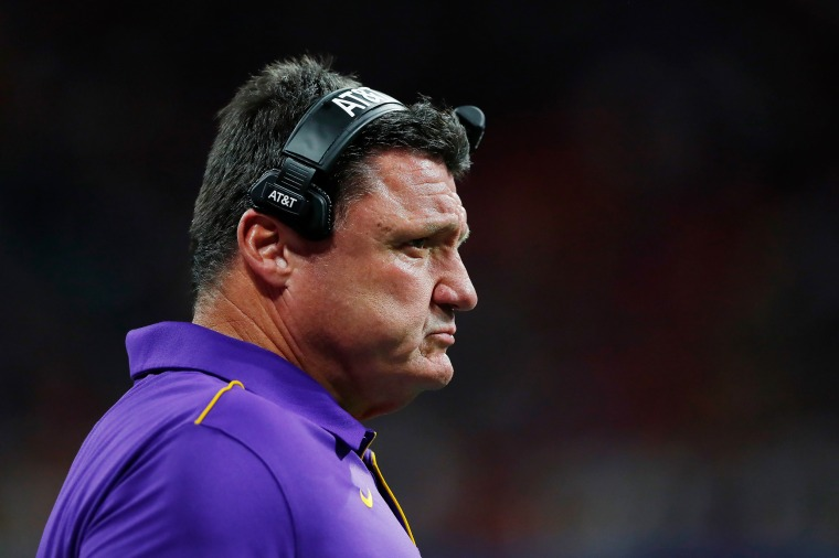 LSU  coach Ed Orgeron on the sidelines during a game in Atlanta on Dec. 28, 2019.