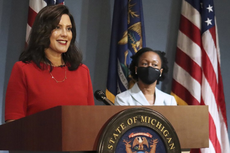 Image: Gov. Gretchen Whitmer addresses the state during a speech in Lansing, Mich.