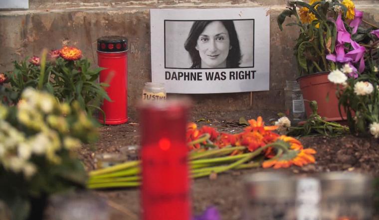 Image: Daphne Caurana Galizia's memorial in Valletta, Malta