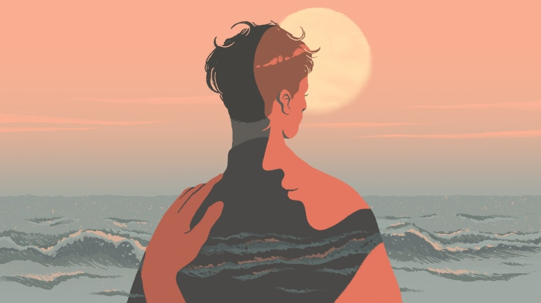 Image: A person, looking at ocean waves and a setting sun, is comforted by a spiritual figure.