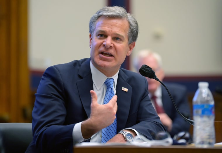 Image: Christopher Wray testifies on Capitol Hill