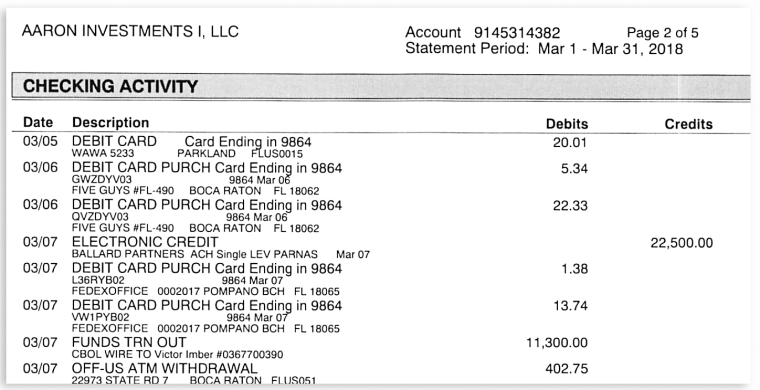 A bank statement showing a check from Ballard Partners deposited by Lev Parnas.