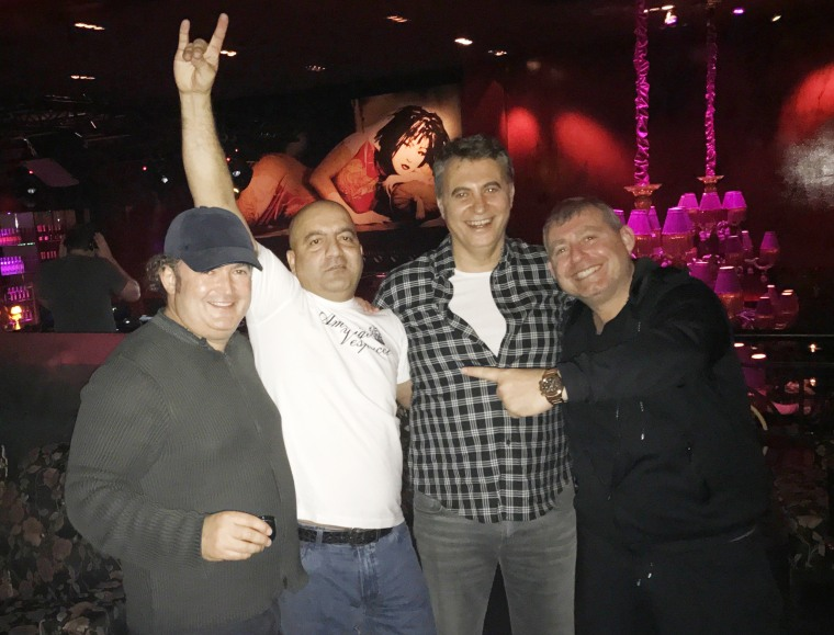 Igor Fruman, Turkish shipping magnate Mubariz Mansimov, Turkish businessman Fikret Orman, Lev Parnas at the Buddha -Bar in Kyiv, on Dec 5, 2016, the night that Parnas said he met Mansimov for the first time.