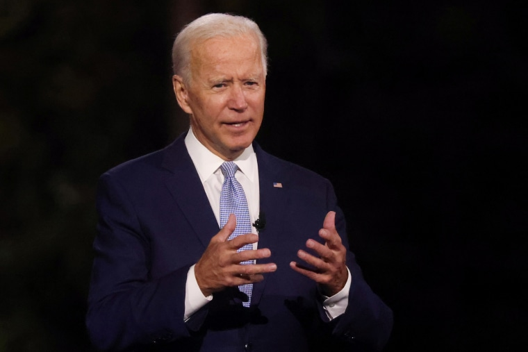 Image: Democratic Presidential nominee and former Vice President Joe Biden takes part in an outdoor town hall meeting in Scranton