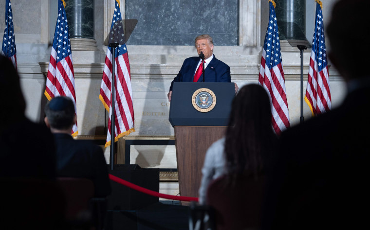 Image: President Donald Trump speaks during the White House Conference on American History at the National Archives in Washington