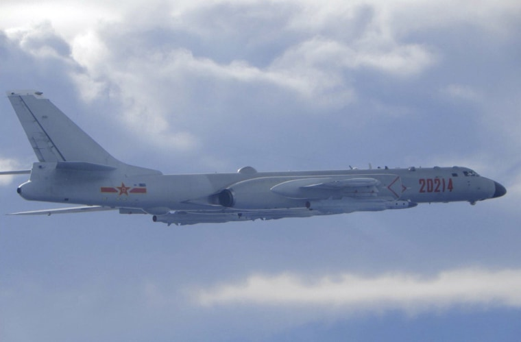 Image: A Chinese People's Liberation Army H-6 bomber is seen flying near the Taiwan air defense identification zone, ADIZ, near Taiwan