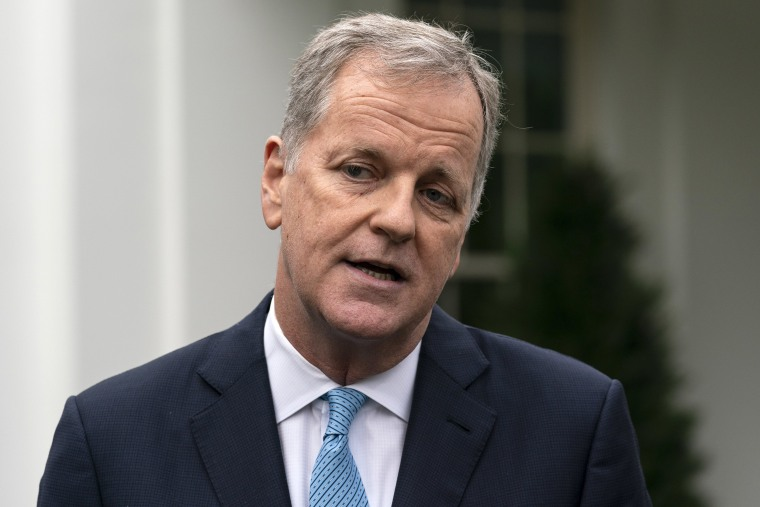 Image: Doug Parker, CEO of American Airlines, speaks with reporters after a meeting with White House Chief of Staff Mark Meadows at the White House