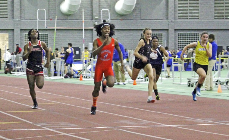 Bloomfield High School transgender athlete Terry Miller, second from left, wins the final of the 55-meter dash over transgender athlete Andraya Yearwood, far left, and other runners in the Connecticut girls Class S indoor track meet at Hillhouse High School in New Haven on Feb. 7, 2019.